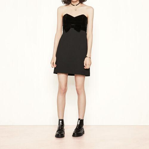 Bustier dress with velvet bow : Dresses color Black 210
