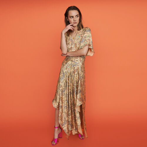 Burn-out-printed scarf smock dress : Winter collection color Beige