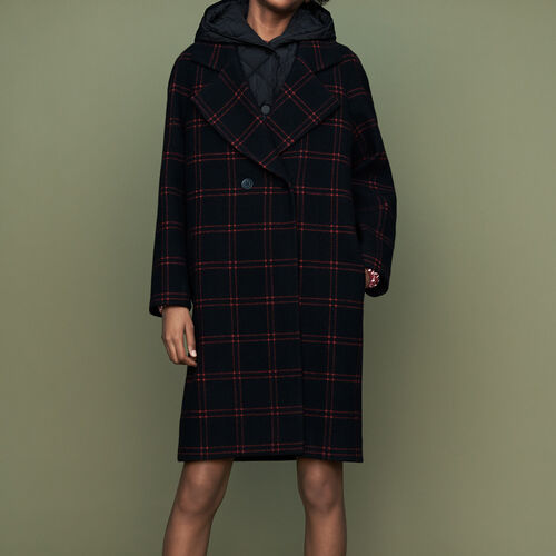 Plaid coat with removable down : Coats color CARREAUX