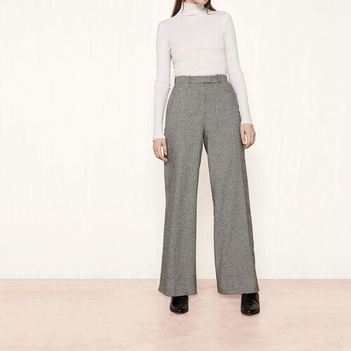 Wool jacquard wide-leg trousers : Trousers & Jeans color Jacquard