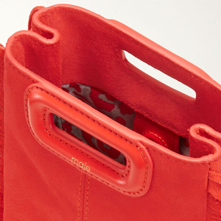 Fringed suede M minibag : Leather color Red