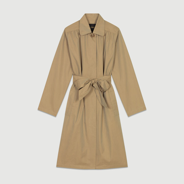 Trench coat with pleated detail : Coats color Beige