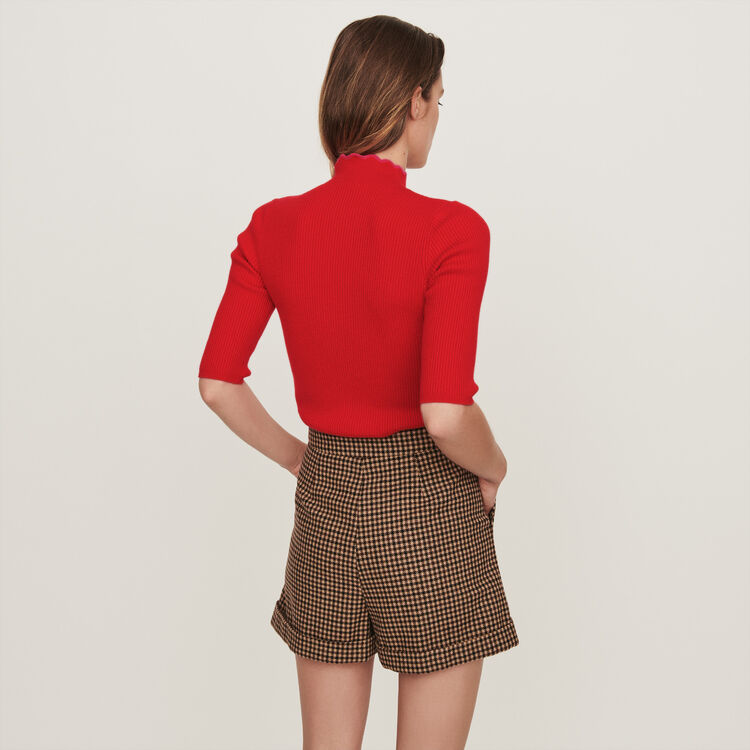 Fancy and zipped turtleneck sweater : Pullovers & Cardigans color Red