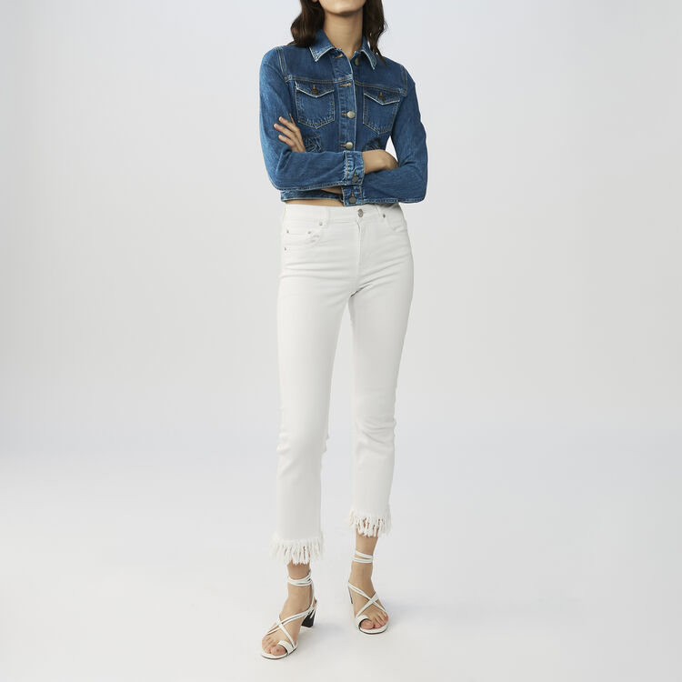 Straight cut jeans with fringed hem : Jeans color White