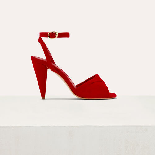 Leather high heals sandals : Shoes color Red