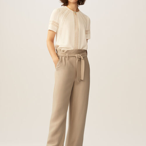 Wide-leg pants with removable belt : Trousers color Beige