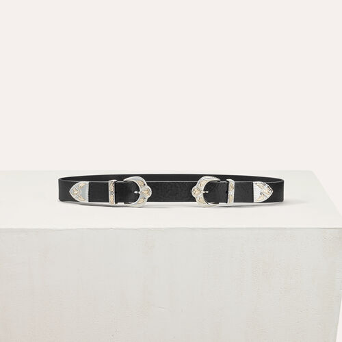 Double scalloped buckle leather belt - Belts - MAJE