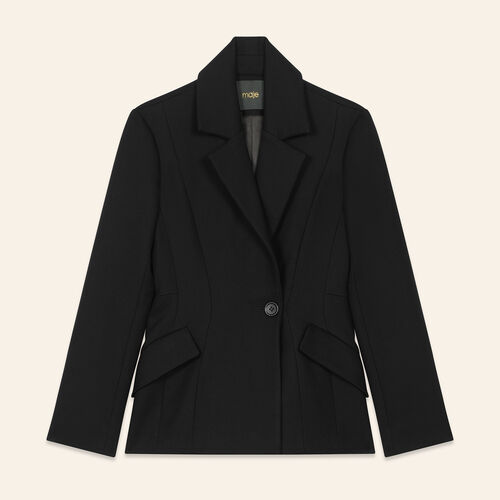 Structured jacket with peplum : Blazers color Black 210