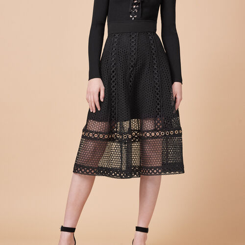 Long embroidered knit skirt : Skirts & Shorts color Black 210