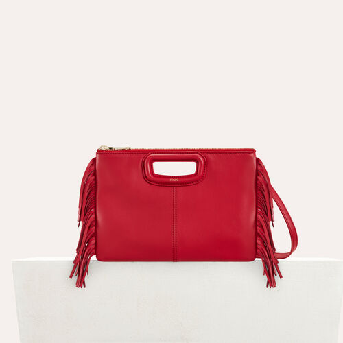 M Duo clutch in leather : Leather color Red