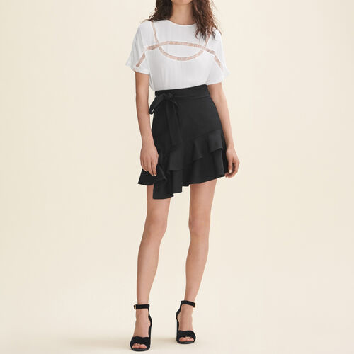 Floaty T-shirt with lace - T-Shirts - MAJE