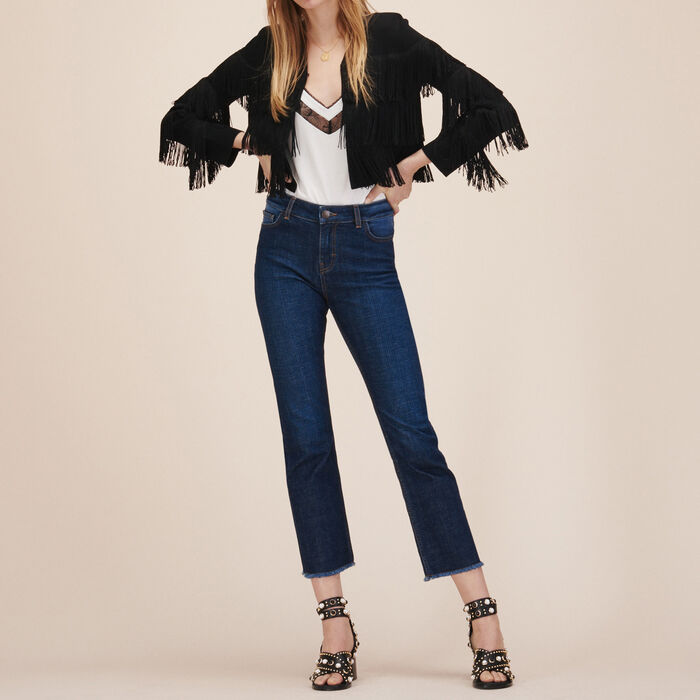 Fringed cardigan : Sweaters & Cardigans color Black 210