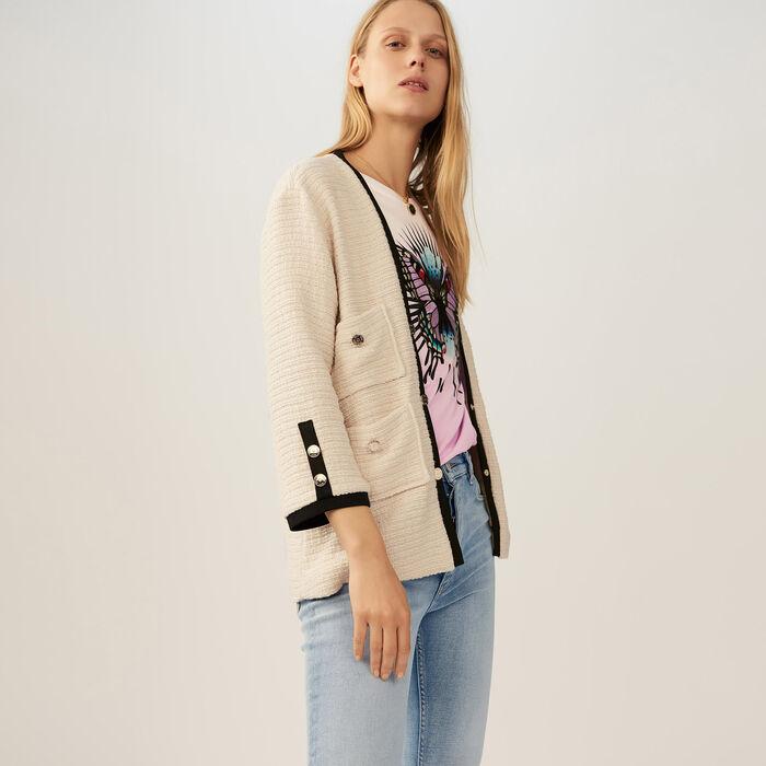 Oversized tweed jacket : Blazers color Ecru