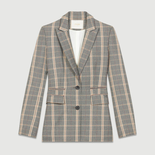Bold shoulder jacket with check print : Blazers color CARREAUX