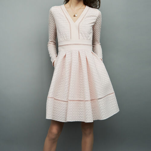 Pleated dress with lace and ribbon : Dresses color Nude