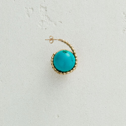 Right earring with natural stone : New collection color Off White