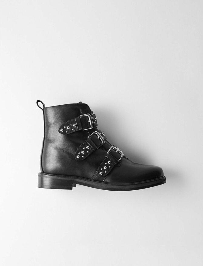 Flat leather studded booties -  - MAJE