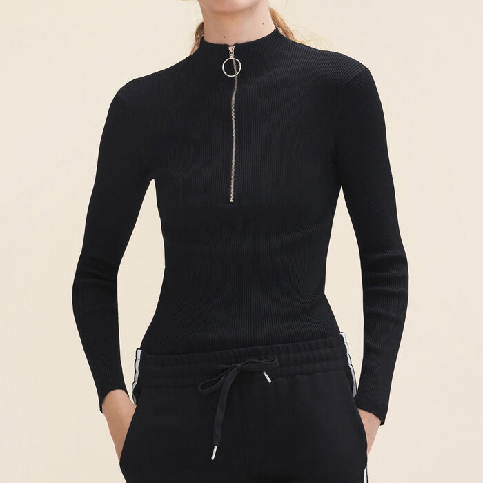 Fine stretch knit jumper with zip : Knitwear color Black 210