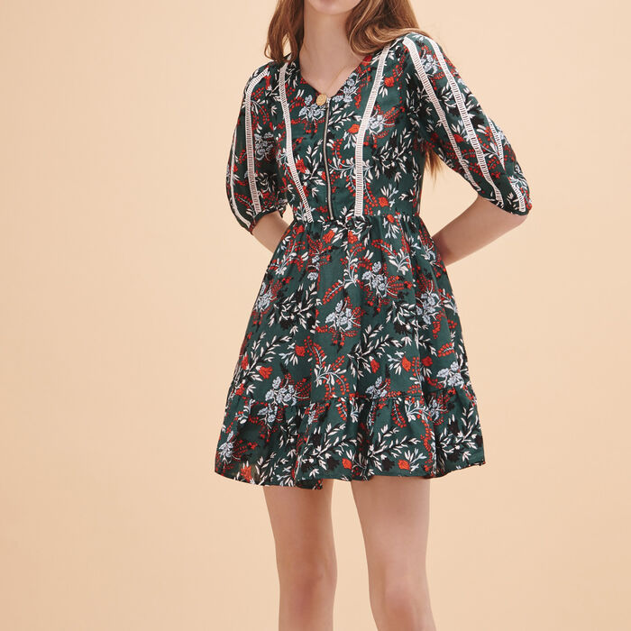 Frilled printed dress : Dresses color Print