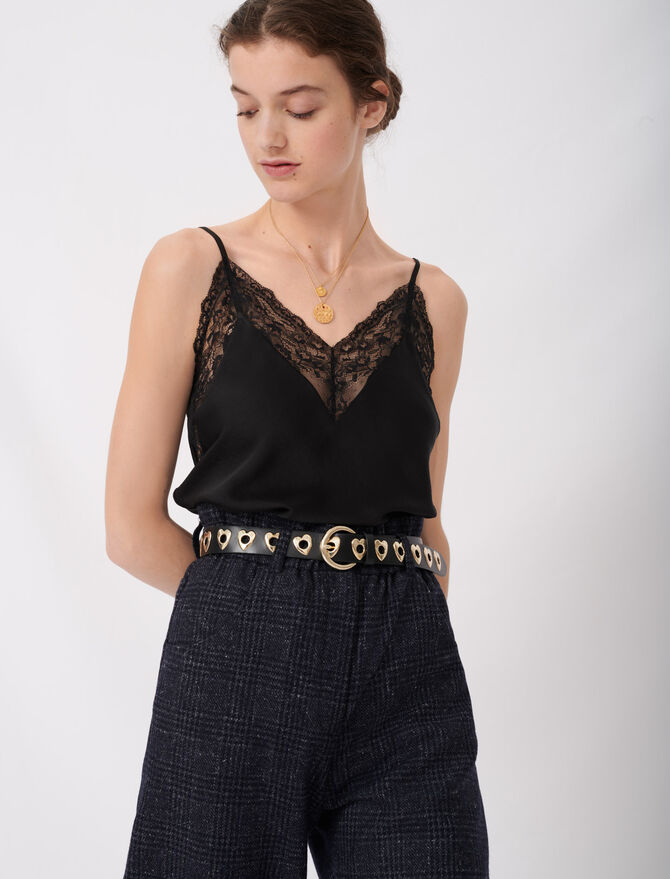 Top with thin straps and lace details -  - MAJE