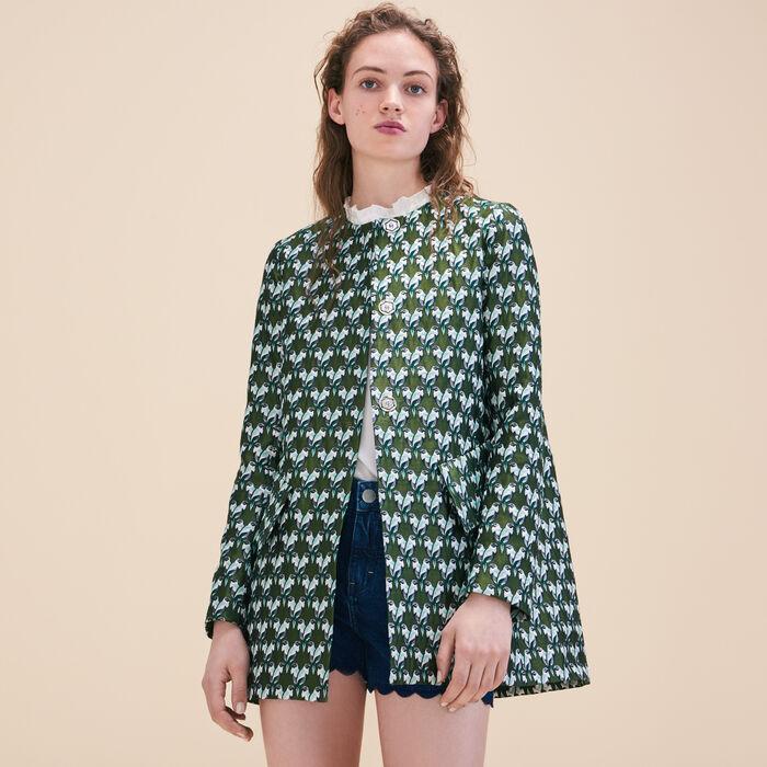 Straight-cut jacquard coat -  - MAJE