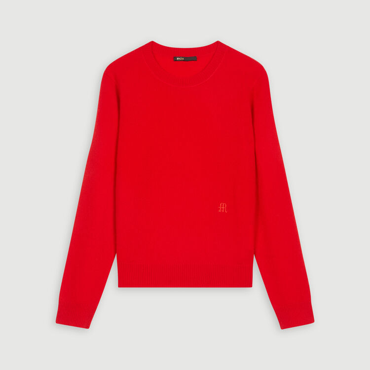 Jewel neck cashmere sweater : Pullovers & Cardigans color Red