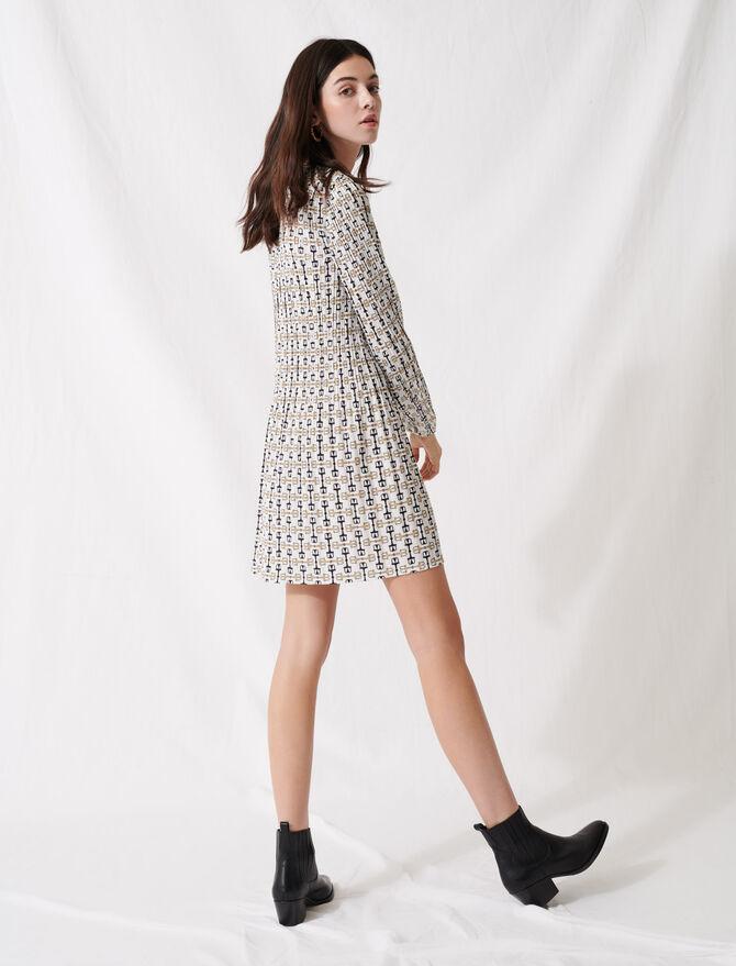 Scarf-style pleated mini dress - Dresses - MAJE