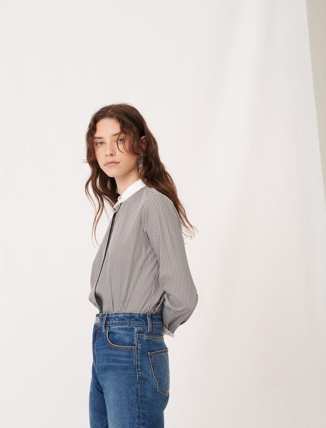 Striped poplin shirt with plain details - tout - MAJE