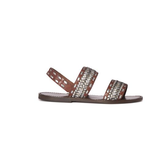 Braided leather sandals : Accessories color Camel
