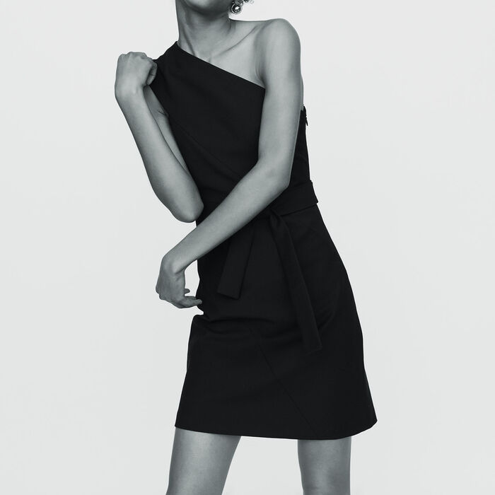 Off-the-shoulder short dress : Ready to wear color Black 210
