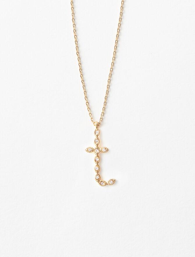 Rhinestone T necklace -  - MAJE
