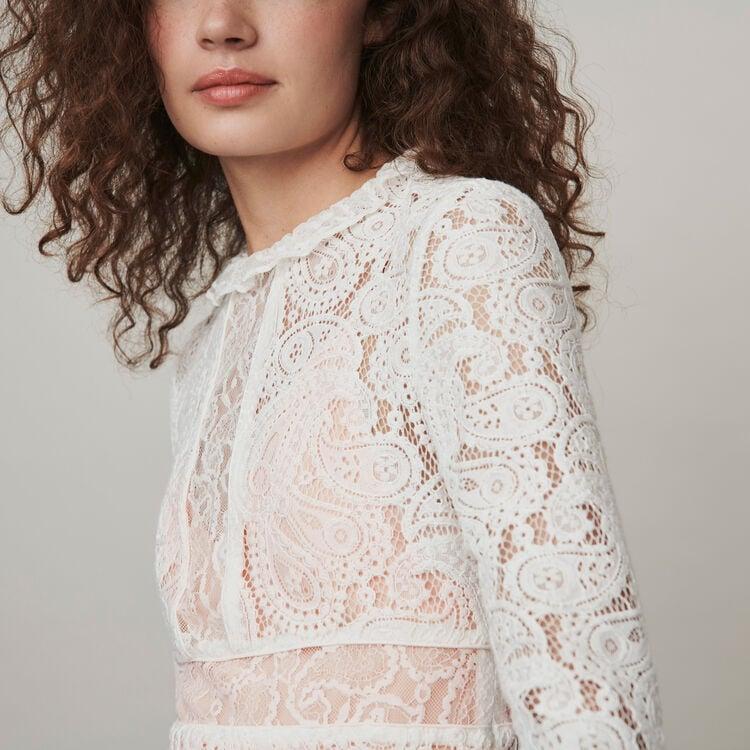 Dress with cashmere detail : Campaign FW19 color Ecru