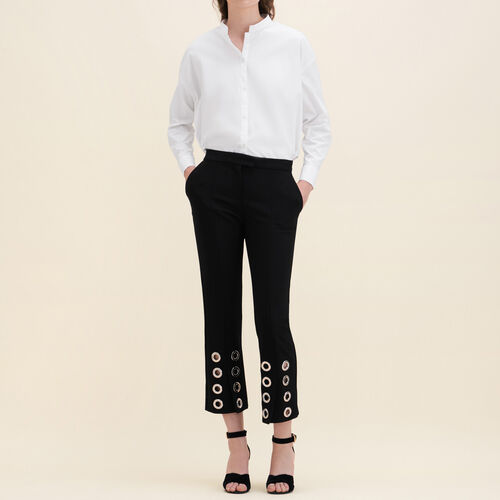 Straight-cut crêpe trousers with eyelets : Trousers color Black 210