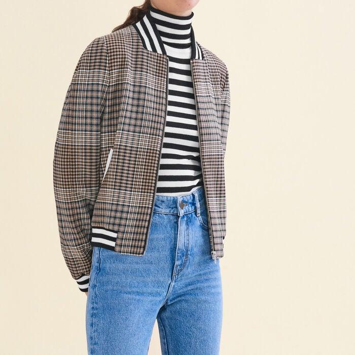 Teddy-style checked jacket -  - MAJE