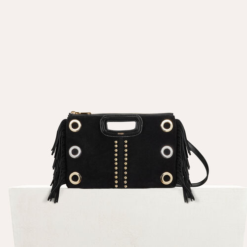 M Duo clutch in suede : Leather color Black 210
