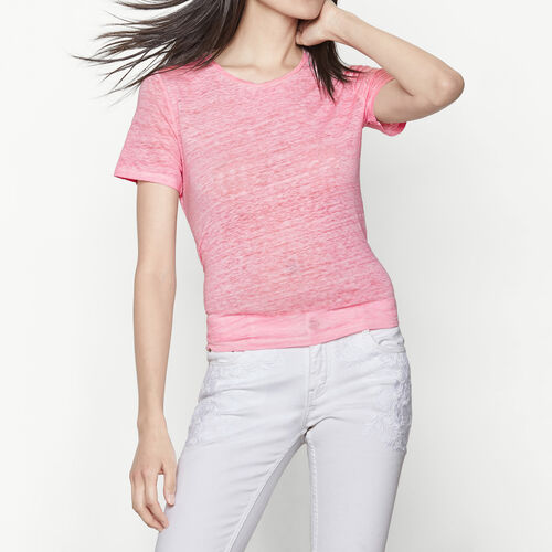 Linen T-shirt tied at the waist : T-shirts color Pink