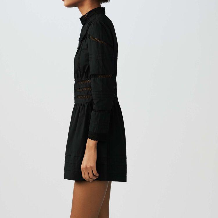 Embroidered cotton poplin romper : Skirts & Shorts color Black 210