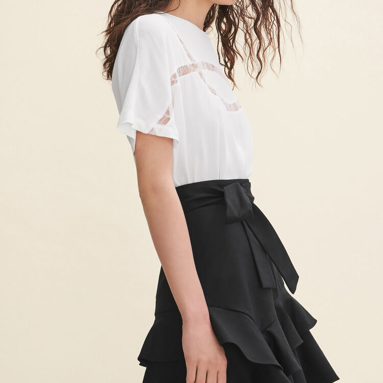 Floaty T-shirt with lace : Tops color WHITE