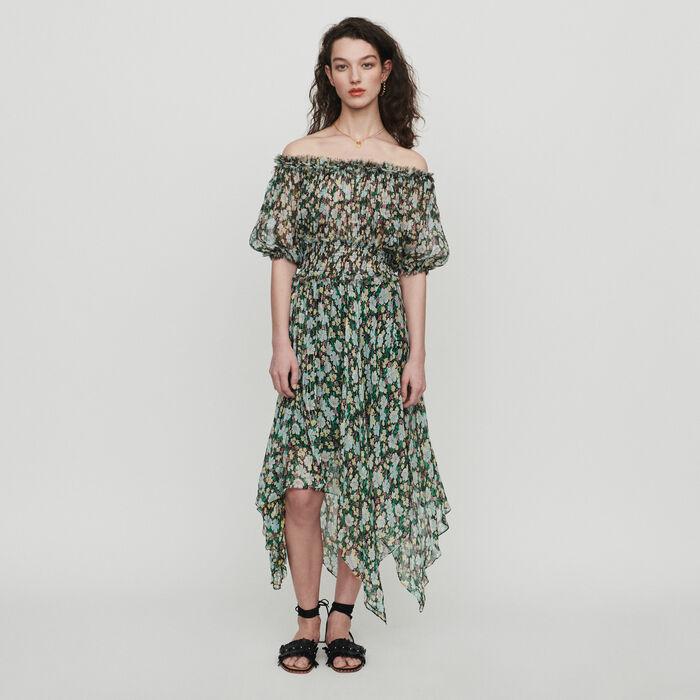 Long smocked dress in floral print : Dresses color