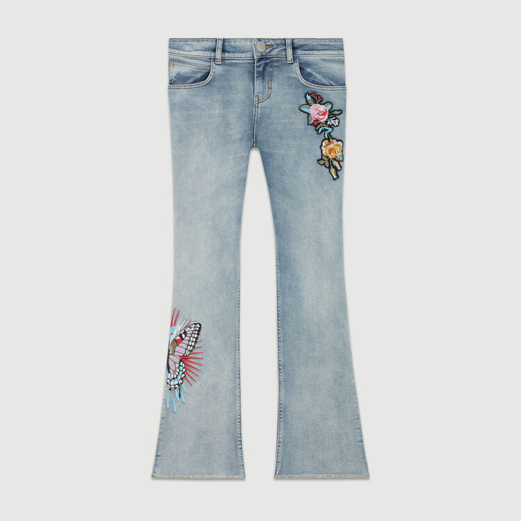 Embroidered flare jeans : Le denim color Denim