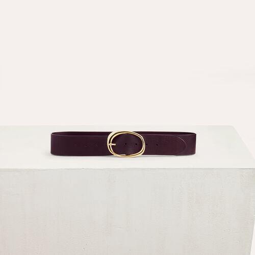 Wide leather belt : Burgundy color Burgundy