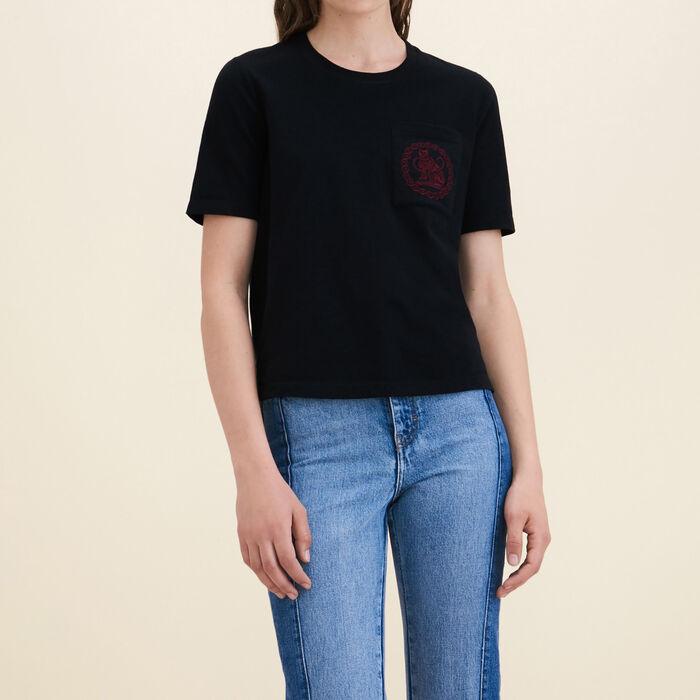 Cotton T-shirt : T-shirts color Black 210