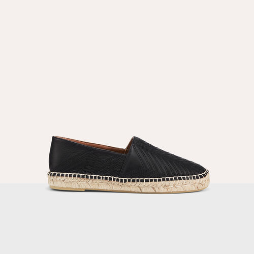 Leather espadrilles with embroidery : Accessoires color Black 210