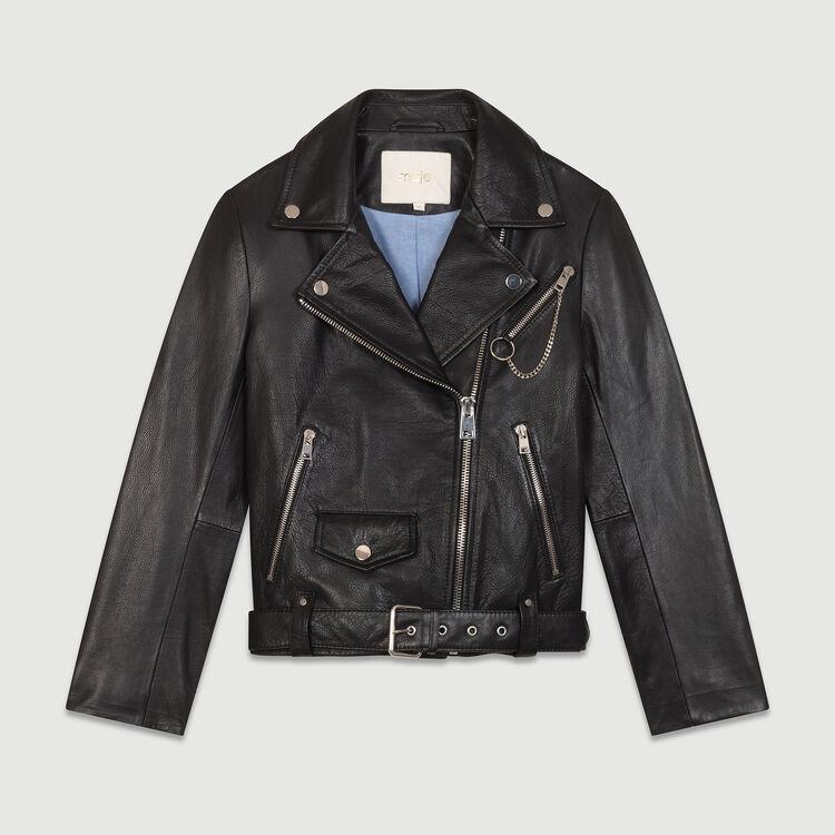 Leather biker jacket : Jackets color Black 210
