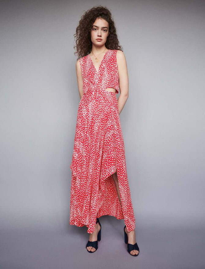 Jacquard-printed long knotted dress - Best Sellers - MAJE