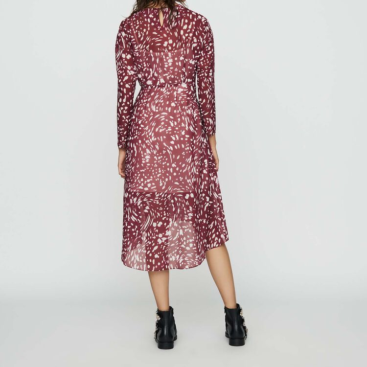 Print asymmetric dress with draping : Burgundy color PRINTED