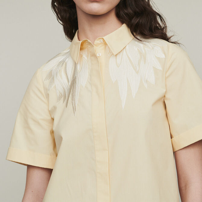 Short-sleeve embroidered shirt - Tops - MAJE