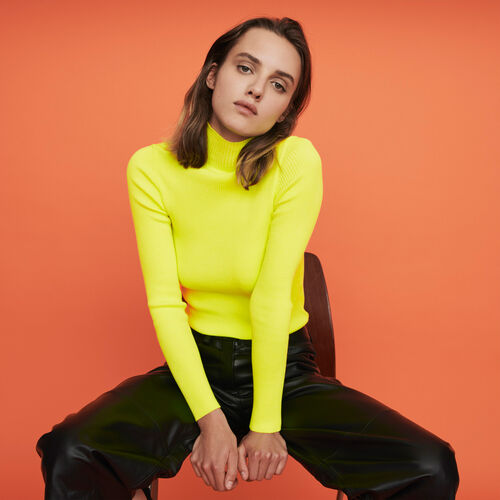 Light ribbed turtleneck sweater : Pullovers & Cardigans color Florescent Yellow