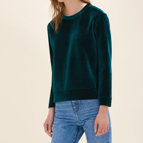 Straight-cut velvet sweatshirt. : Sweaters & Cardigans color Pink