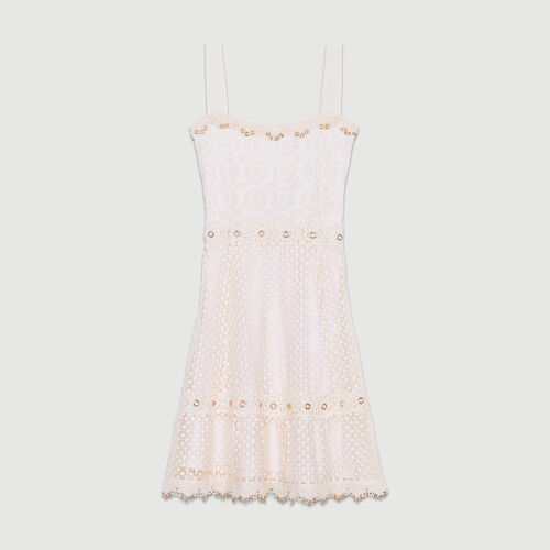 Lace dress with straps : Dresses color Pink